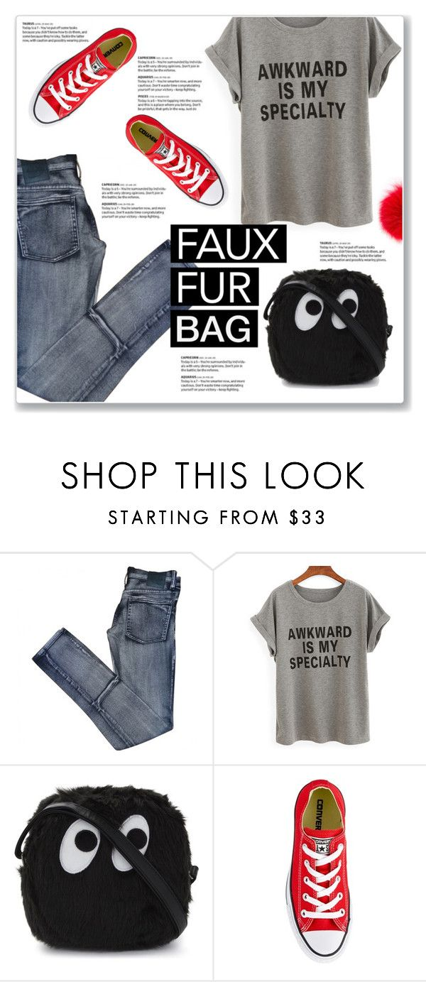 """Fur Bag"" by kellylynne68 ❤ liked on Polyvore featuring Cheap Monday, Mini Cream, Converse, Furla, fauxfur, furbag and fauxfurbag"