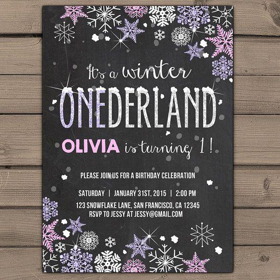 Winter ONEderland invitation Birthday party by Anietillustration