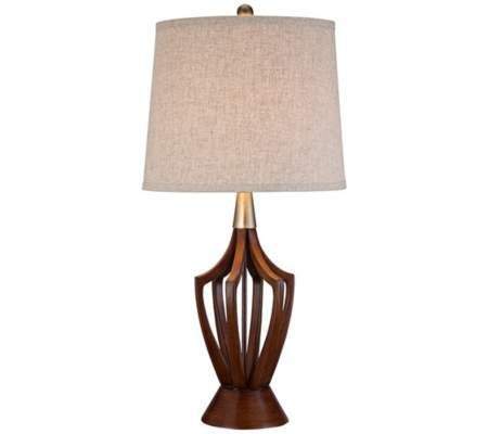 St claire wood finish mid century modern table lamp 55downingstreet com