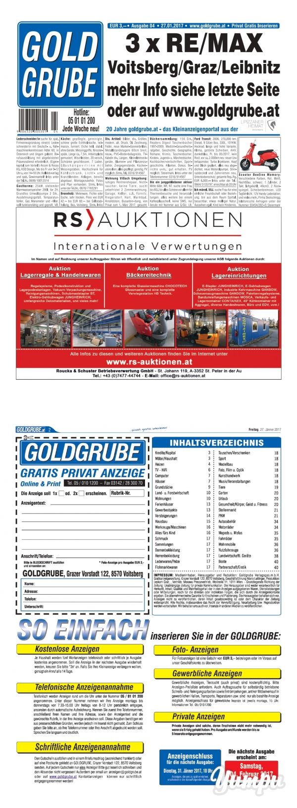 Goldgrube Ausgabe 4/17 - Magazine with 48 pages: Privat-Gratis Inserieren
