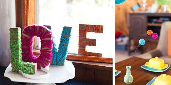 Letras de madera decoradas con estambre things pinterest - Letras de madera decoradas ...
