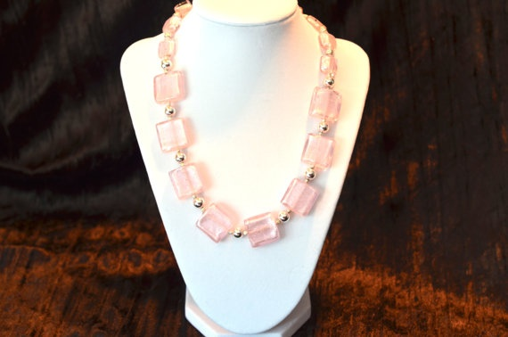 Pink and silver necklace by JewelrybyMKDesigns on Etsy