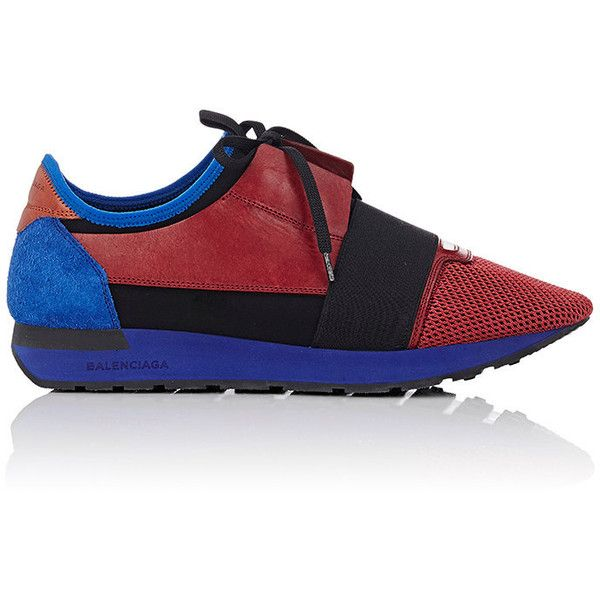 "Balenciaga ""Race Runner"" Sneakers (£490) ❤ liked on Polyvore featuring men's fashion, men's shoes, men's sneakers, red, balenciaga mens sneakers, balenciaga mens shoes, mens red shoes, mens red sneakers and mens lace up shoes"