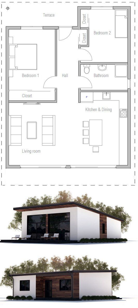 Affordable two bedroom house plan.
