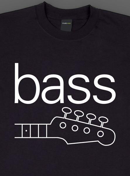 Remera musicwear  bass blanco sobre negro