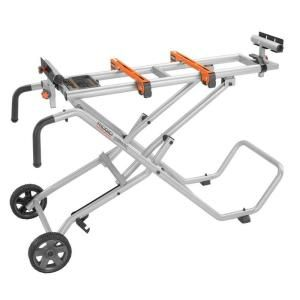 Terrific mobile miter saw stand!  Easy foot pedal for collapsing/set up.