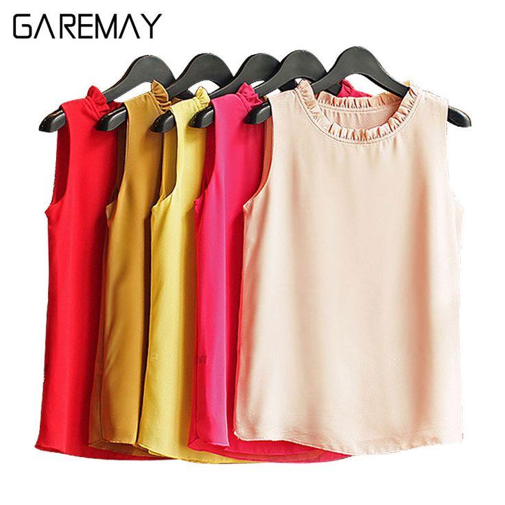GAREMAY Sleeveless Chemise Femme Chiffon Blouse Shirt Women Spring 2017 White Black Tops Feminine Clothes For Women Female