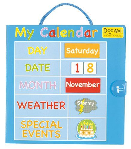 Start each day by checking in and talking about the weather special events and day of the week / month. A great teaching toll FIESTA CRAFTS DOOWELL Magnetic My Daily Calendar #toys2learn #earlylearning #calendar #daysoftheweek #fiestacrafts