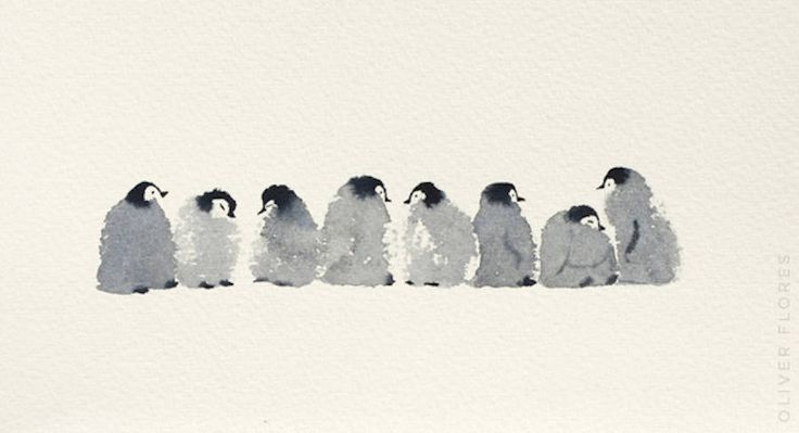 Cute Penguins Watercolor