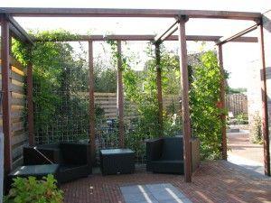 meer privacy. rooster met klimplanten half in de tuin voor meer privé