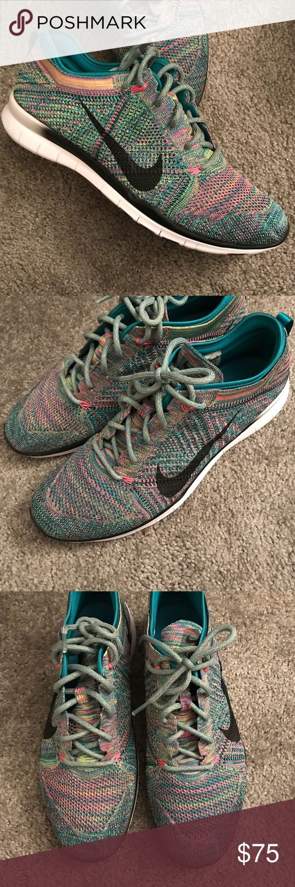 Nike free flyknit 5.0 TR Like new condition. Multicolor flyknit. Lightweight. Women's shoe size 14= men's size 13. Nike Shoes Athletic Shoes