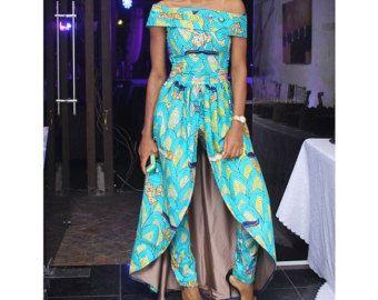Ankara & Lace uitgerust Jumpsuit van Africandressshop op Etsy