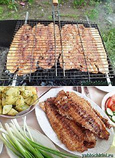 готовим рыбу на костре, мангале, барбекю |