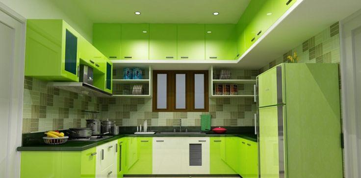 cocina con gabinetes verdes