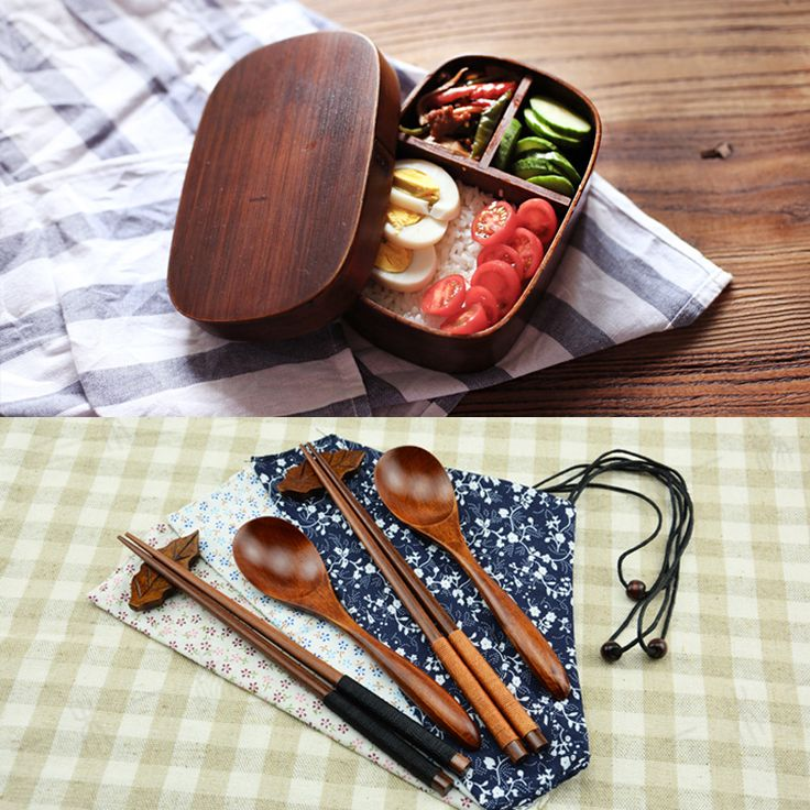 Japanese Bento Boxes Wood Lunch Box Handmade Natural Paint Wooden Bowl Sushi Box Dinnerware Food Container Spoon And Chopstic(China (Mainland))