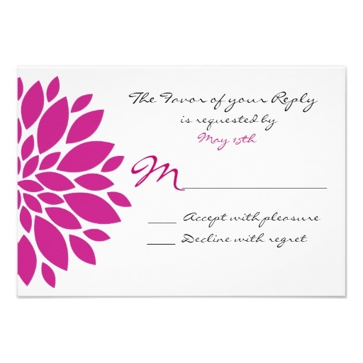 Magenta Pink Purple Flower Wedding RSVP Reply Card