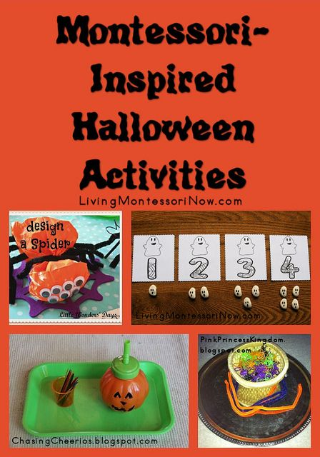 Montessori-Inspired Halloween Activities - LOTS and LOTS of Halloween activities (Montessori-inspired activities and a Pinterest board filled with Halloween activities of all kinds)