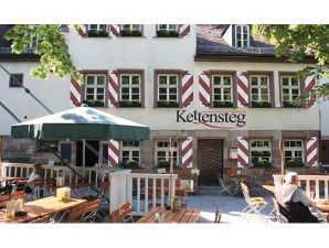 Nuernberg, Restaurant Kettensteg, at the Kettensteg bridge (chain bridge), about 500 feet west of the Hangman's bridge