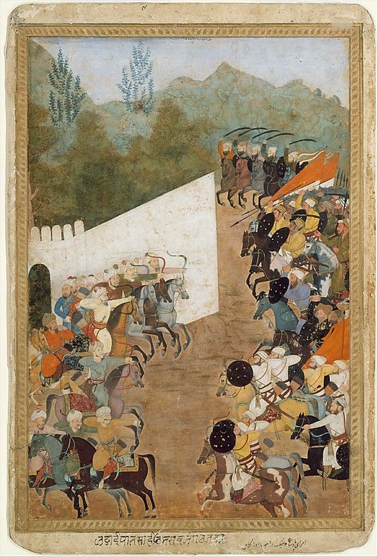 """""""The Battle of Shahbarghan"""", Folio from a Padshahnama (Chronicle of the Emperor) Object Name: Folio from an illustrated manuscript Date: 17th century Geography: India Culture: Islamic Medium: Ink, opaque watercolor, and gold on paper Dimensions: 13.62 in. high 9.12 in. wide (34.6 cm high 23.2 cm wide) Classification: Codices Credit Line: Purchase, Bernard and Audrey Aronson Charitable Trust Gift, in memory of her beloved husband, Bernard Aronson, 1986 Accession Number: 1986.283"""