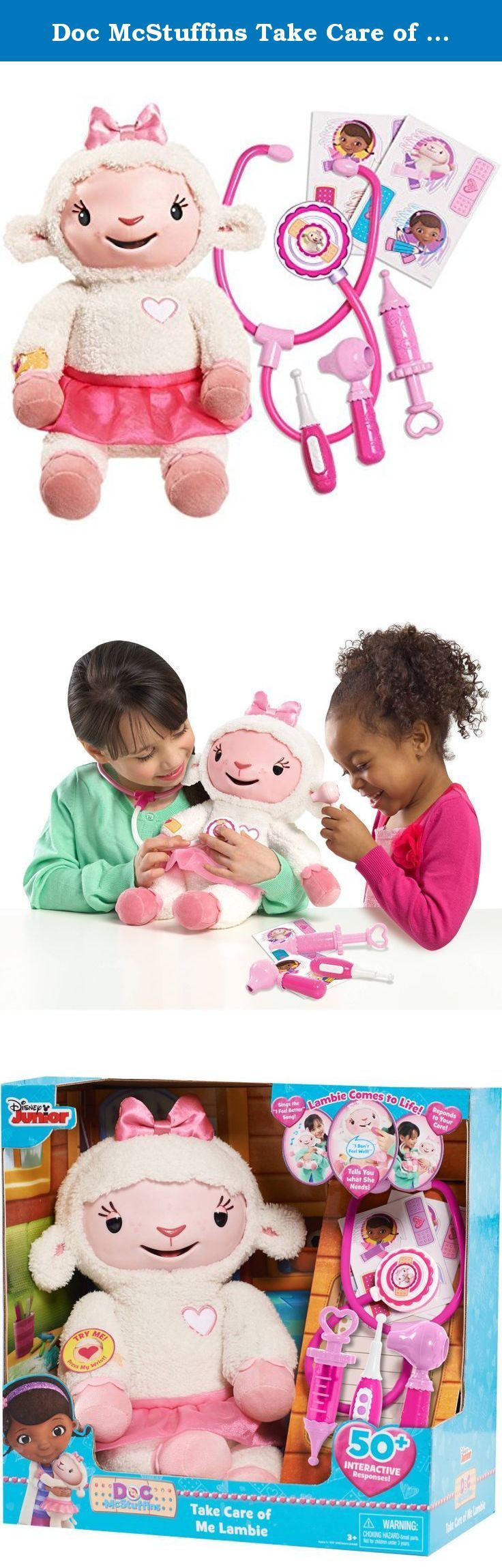 Doc McStuffins Take Care of Me Lambie Interactive Plush. This Doc McStuffins Take Care of Me Lambie is the must-have feature item of the year. It is just what all fans have been dreaming of. You can watch over this Take Care of Me Lambie toy all by yourself. There are so many ways to interact with her. This interactive plush toy has three triggers that give a ton of responses. Press her tummy and she may laugh or sing a song. Use the tools to give this Take Care of Me Lambie toy a check…