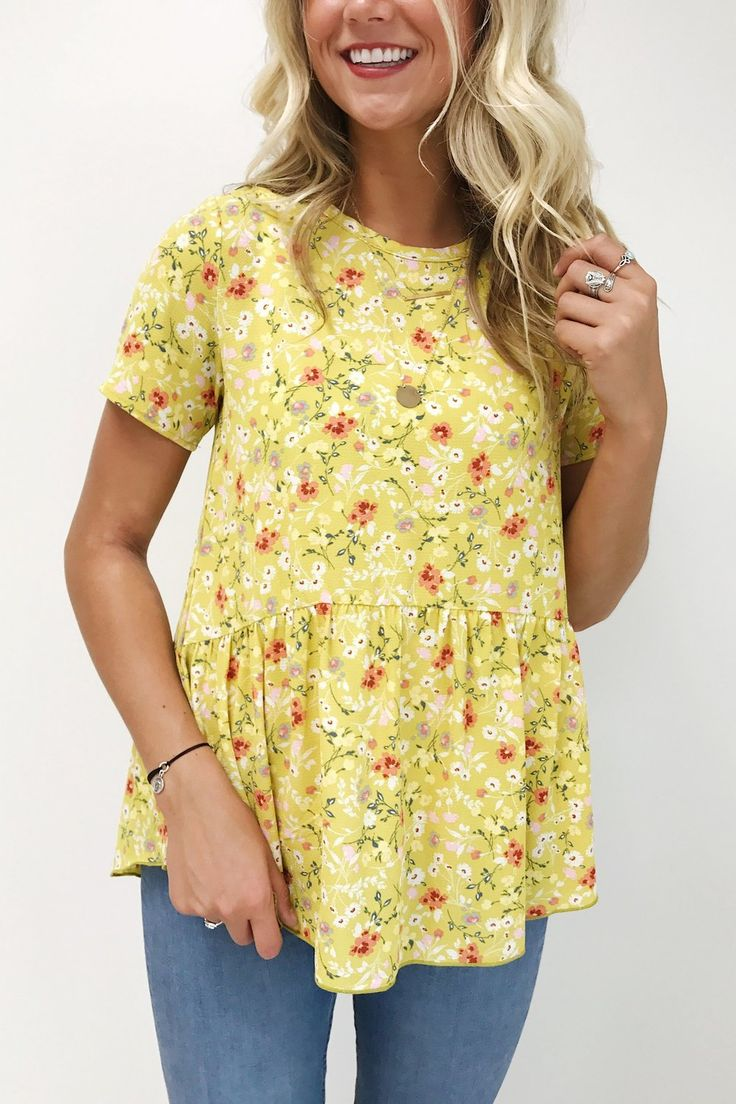Floral Peplum in Pineapple Yellow | ROOLEE