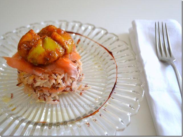 Le pellegrine Artusi: Riso selvaggio croccante con salmone e fichi caram...