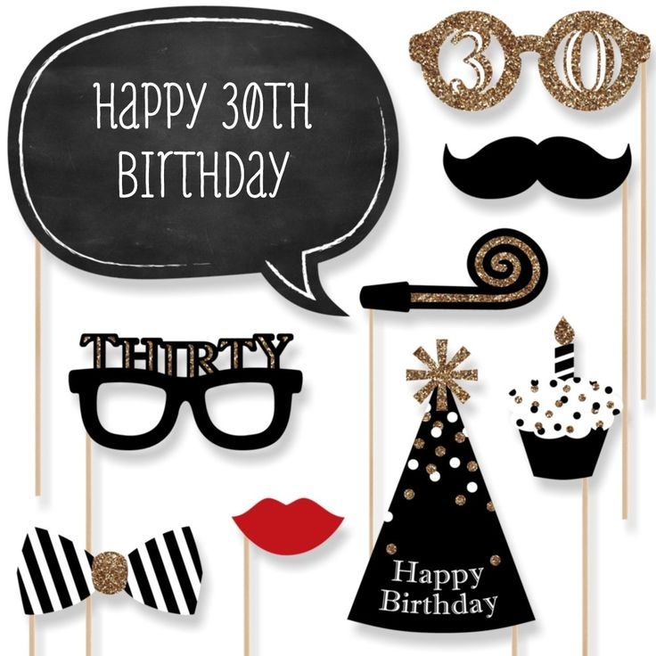 Adult 30th Birthday - Gold - Photo Booth Props Kit - 20 Count