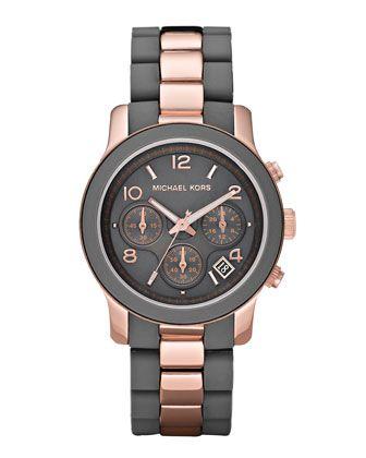 Queridos reyes magos... es este! Michael Kors Two-Tone Silicone Watch, Rose Gold/Gray.