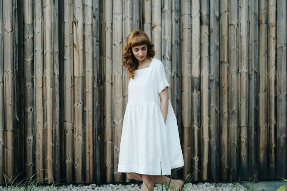 White Linen Oversized Dress - Oversized Dress - Linen Dress - Loose Fit Dress - Handmade by OFFON