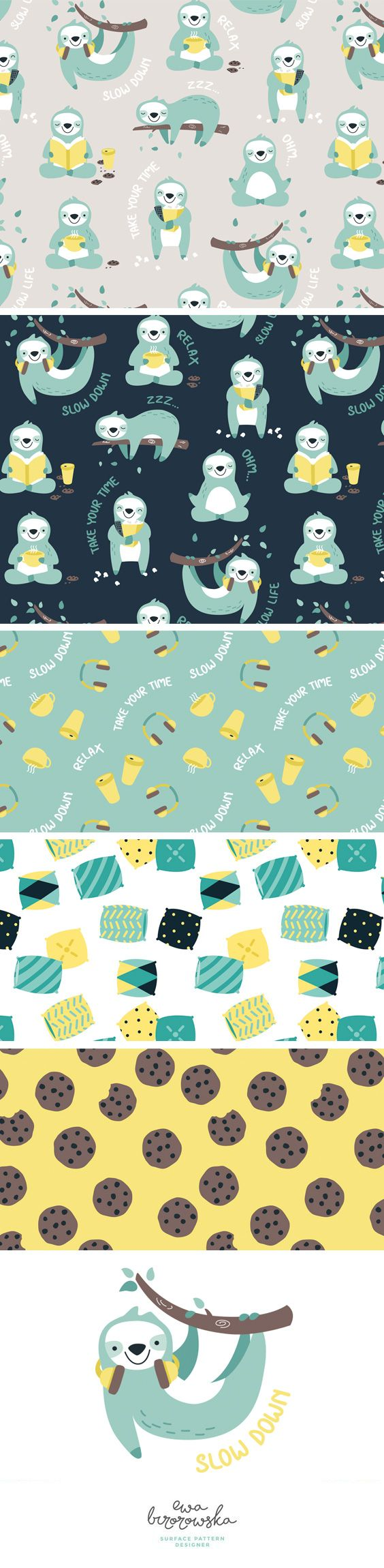 Lazy Sloth - textile surface pattern design - collection of patterns with sloth motifs in mint, navy and yellow color palette.