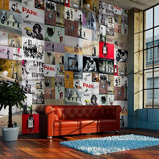 Carte da parati PURO - Tre colori da scegliere - carte da parati realistiche - 10m della carta da parati senza ripetere il motivo - Il fotomurale di fliselina - HIT - Il pannello decorativo - Il La foto sulla parete nelle dimensioni XXL - Banksy f-A-0237-j-b
