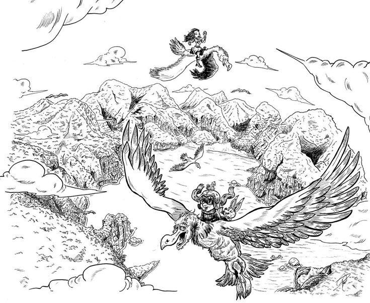 #illustration dun#Vol au #dessus d'un nid de #clouhclouh et d'une #ile #paradisiaque