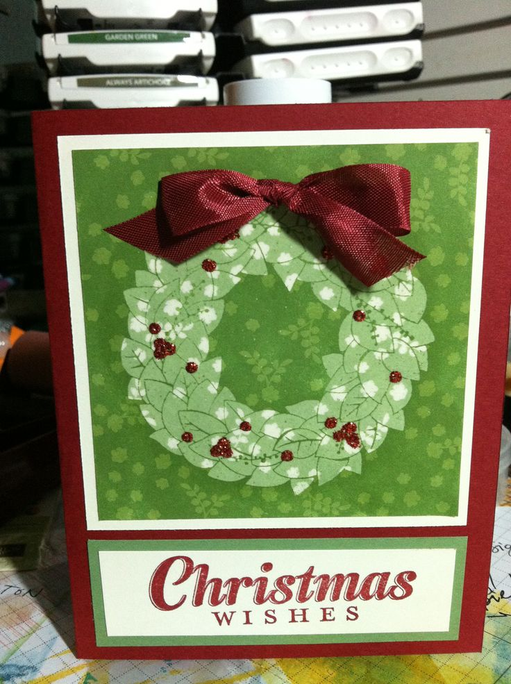 Wonderful Wreath/Joy to the World-Stampin' Up! stamp sets Emboss resist technique Card by Kristine John