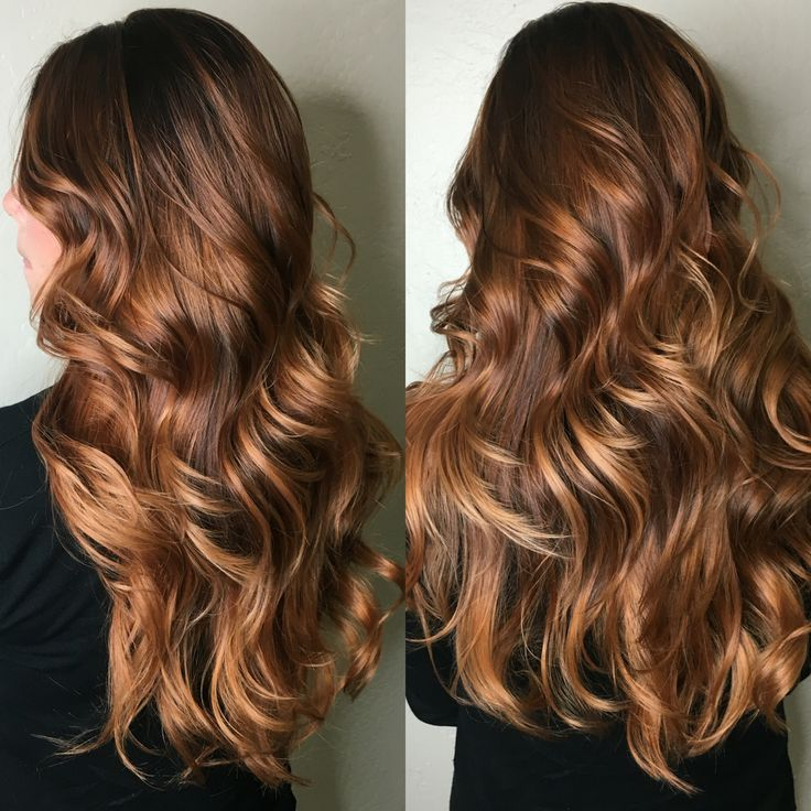Copper balayage, copper hair, brunette hair, long hair, curls, hairstyle, long haircut, warm brown hair, caramel balayage
