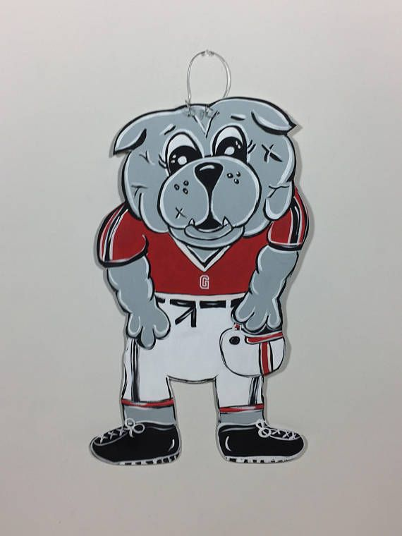 georgia bulldog  - football player door hanger - custom design macot door decor - football team door hangers