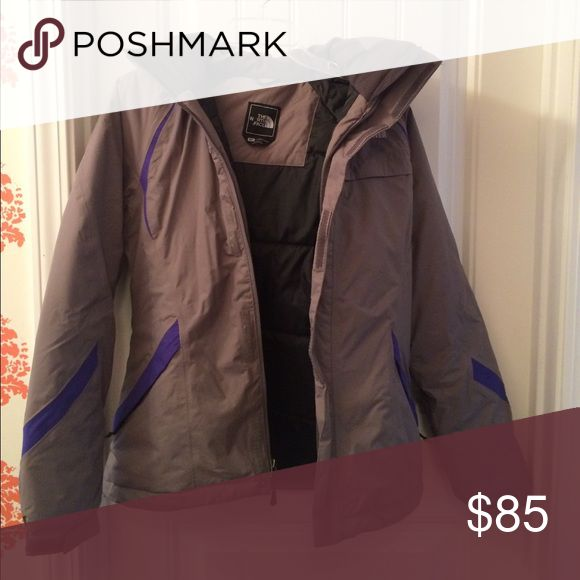 North face ski Jacket Like new condition Northface ski jacket.  Charcoal grey with purple trim. North Face Jackets & Coats Puffers