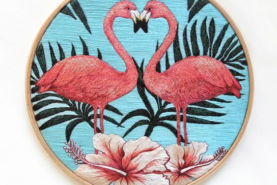 Ручная вышивка декор для дома картина Розовый фламинго