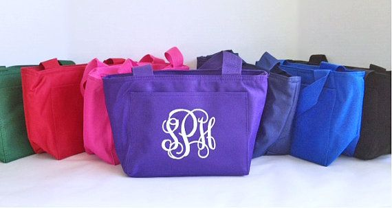 Insulated Lunch Bag  Monogram Lunch Tote  by InitialIt4Me on Etsy