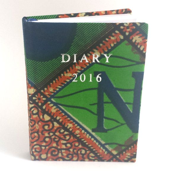 Unique One-of-a-kind Bespoke Day a page A6 Customised 2016 diary covered with premium African print - burnt orange green  navy blue design