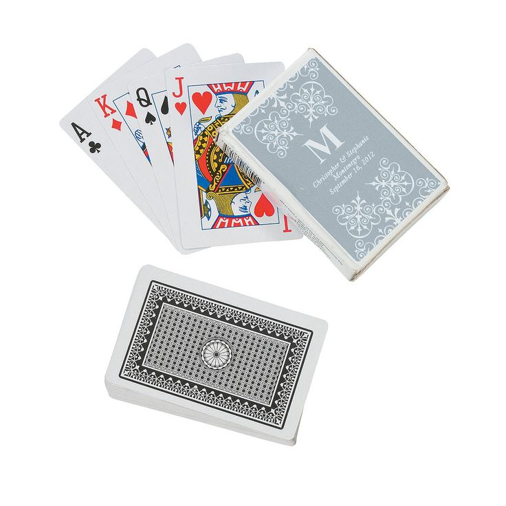 Silver Monogram Wedding Personalized Playing Cards - OrientalTrading.com
