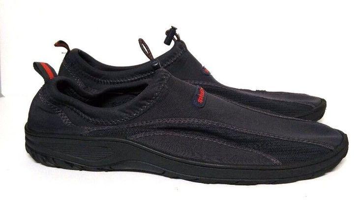 Speedo Water Shoes Neoprene Men's Large L 11 12 Adjustable Fit Navy Blue Red #Speedo