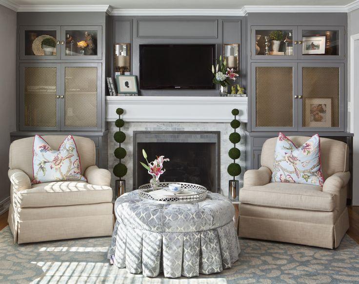 Living Room By Reusch Interior Design Ottoman Gray Blue Rug Fireplace