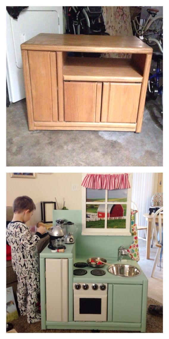 DIY play kitchen from old entertainment center!                                                                                                                                                                                 More