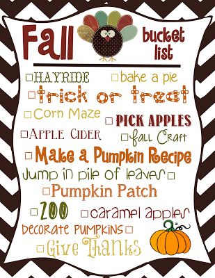 Free Fall Bucket List Printable! Fall bucket list 2013 for kids