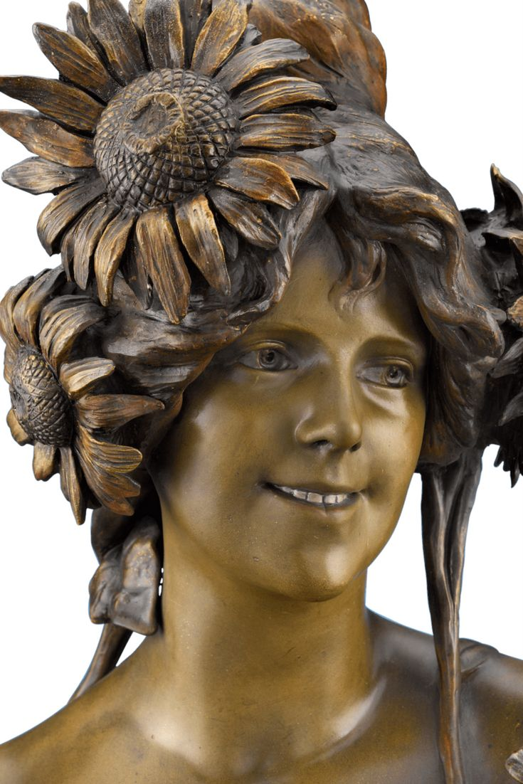 A fine terra cotta sculpture modeled by artist A. Bertrand and created  by Goldscheider of Vienna. Entitled Hyliothrope, this bust is a  fantastic example of Art Nouveau sculpture. According to the stamped  production number, this bust is one of a series of 115. The bust is  featured in the text entitled Goldscheider by Ora Pinhas ~ German  Sculpture, Antique Sculpture ~ M.S. Rau Antiques