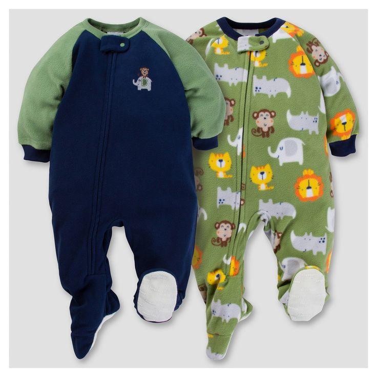 Gerber Baby Boy 2pk Safari Microfleece Zip-Front Footed Blanket Sleepers - Navy 24 M, Blue