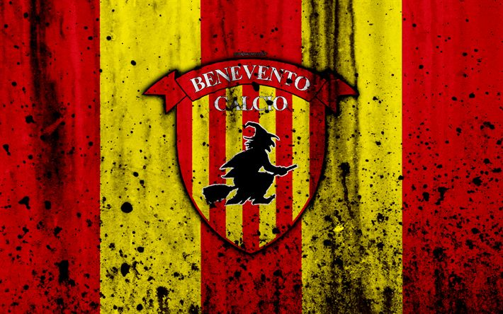 Download wallpapers FC Benevento, 4k, logo, Serie A, stone texture, Benevento, grunge, soccer, football club, Benevento FC