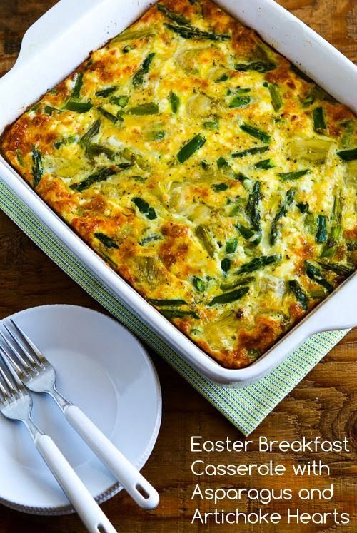 This Easter Breakfast Casserole with Asparagus and Artichoke Hearts is perfect for Easter brunch, or just make it when you need a treat for a weekend breakfast! (Low-Carb, Gluten-Free) [from KalynsKitchen.com]