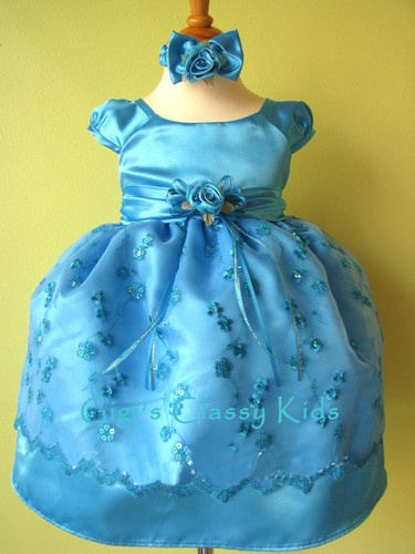 Infant girls turquoise dress 18 24 m easter wedding pageant christmas