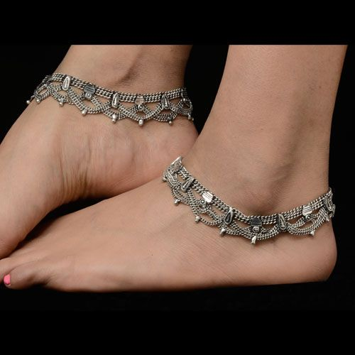 Fashionable Oxidized Silver Anklets Fashionable Oxidized